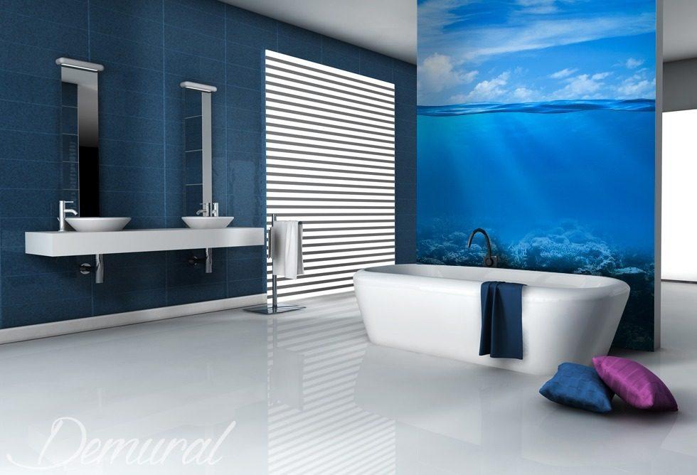 El azul profundo fotomurales para cuarto de ba o - Fotomurales para banos ...